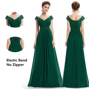 Image 4 - Wedding Party Gowns Plus Size Evening Dresses 2020 Womens Long Elegant V neck Sleeveless A line Chiffon Evening Gowns