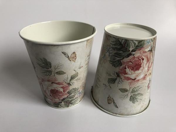 10Pcs/Lot D11xH12.5CM Round bucket Iron Vase Flower pot Metal Planter Wedding Decoration Europe tin tub-in Flower Pots & Planters from Home & Garden