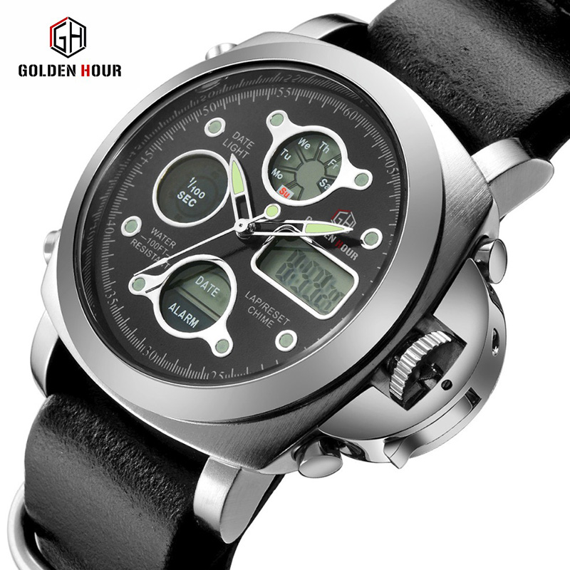 купить 2018 New Watches Men Luxury Brand 3ATM Dive LED Digital Analog Quartz Watches Male Fashion Sport Military Wristwatches по цене 1529.26 рублей