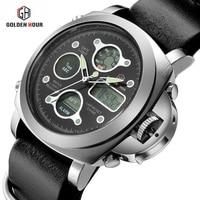 2018 New Watches Men Luxury Brand 3ATM Dive LED Digital Analog Quartz Watches Male Fashion Sport Military Wristwatches