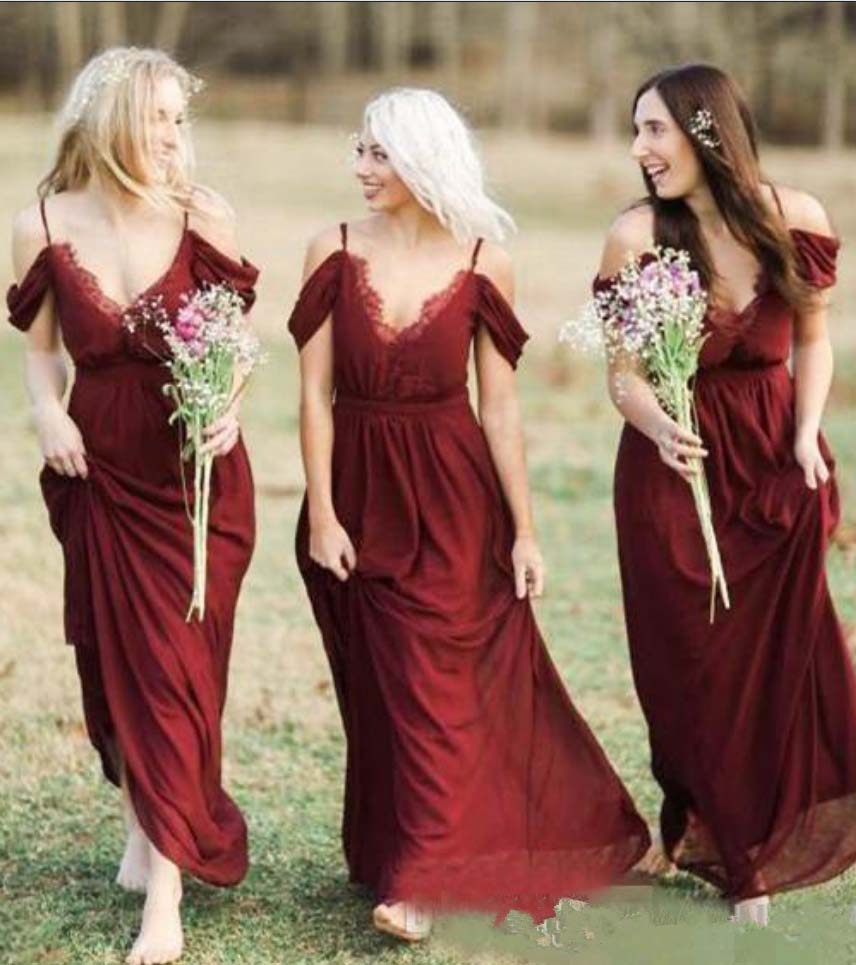Bohemian Country Dark Red Chiffon   Bridesmaid     Dresses   Sexy Spaghetti Lace Wedding Guest   Dress