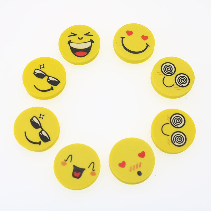 4pcs/Set Of New Creative Cute Kawaii Smiley Rubber Eraser Children'S Favorite Cartoon Gifts Stationery School Office Supplies