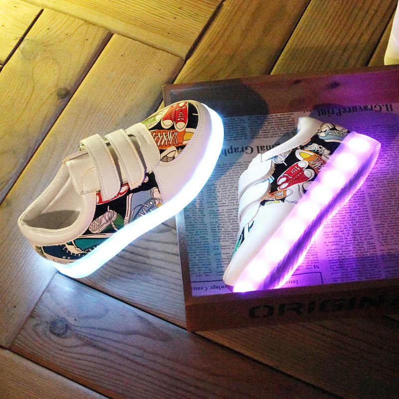 เด็กรองเท้าส่องสว่าง USB ชาร์จเด็กผู้ชาย & เด็กหญิงรูปแบบผ้าใบรองเท้า led 7 สีกลางแจ้งเรืองแสงรองเท้าผ้าใบ