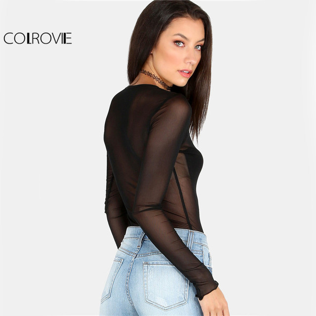 COLROVIE Women Summer Shirts Fashion Clothes Women 2017 Solid See Through Tops Long Sleeved Mesh Top Black Sheer Sexy Blouse