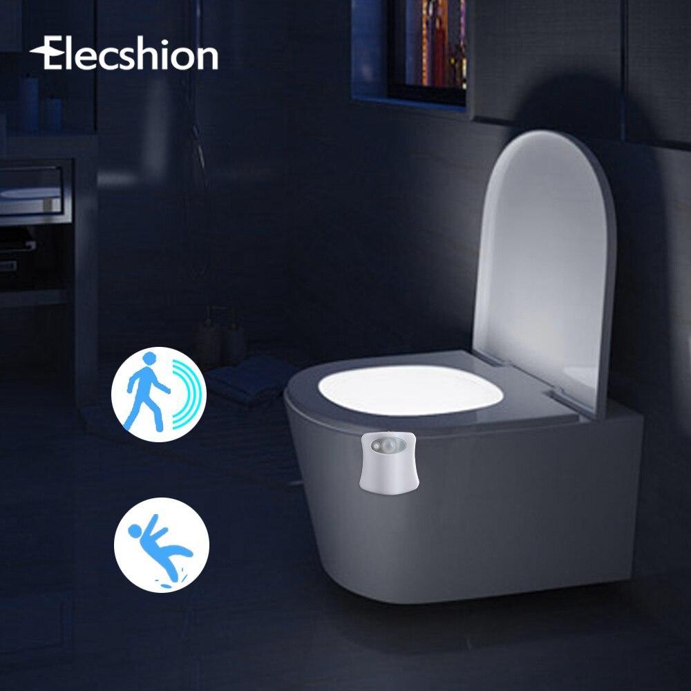 Elecshion Led Toilet Night Light Auto Human Motion Sensor PIR Bathroom  Battery 8 Colors RGB Bowl Projector 3d Novelty Lamp In LED Night Lights  From Lights ...