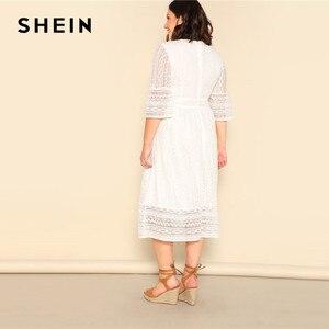 Image 2 - Shein Plus Size Dame Romantische Button Voor Lace Overlay Maxi Jurk Voorjaar Elegante Hoge Taille Half Sleeve Een Lijn Lange jurk