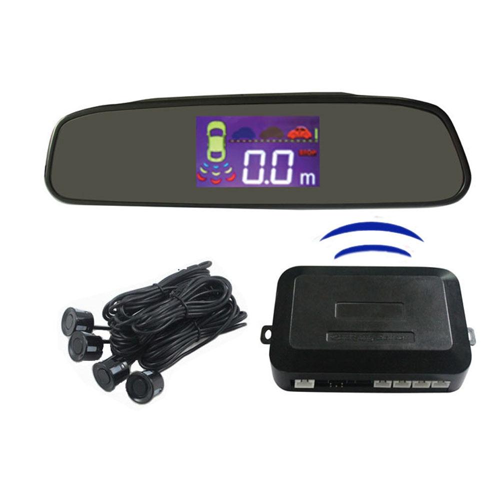 Sans fil LCD miroir affichage capteurs de stationnement sauvegarde Radar alerte système d'alarme 4 capteurs pièces d'auto style de voiture