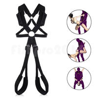 Black Sex Swing With Grip Handlebar Thigh Cuffs Strap Belt Couples Sex Aid Toy