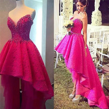 High Low Spitze Junior Prom Kleid 2016 Perlen Partei Abendkleid