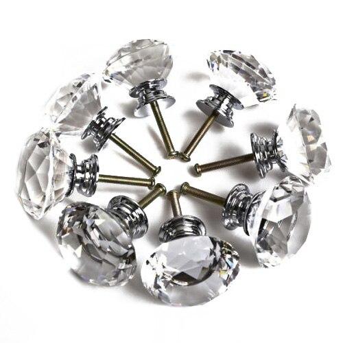 16X40 MM Clear Diamond Crystal Glass Maçanetas Gaveta Cozinha Móveis