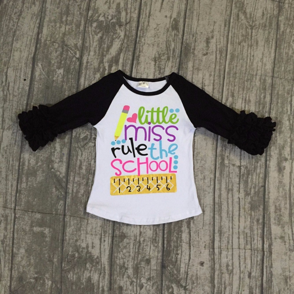 baby girls cotton back to school raglans girls little miss rule the school raglans baby girls back to school raglan black sleeve baby girls fall boutique clothing girls time to be a unicorn raglans girl top t shirts children clothes hot pink sleeve raglans