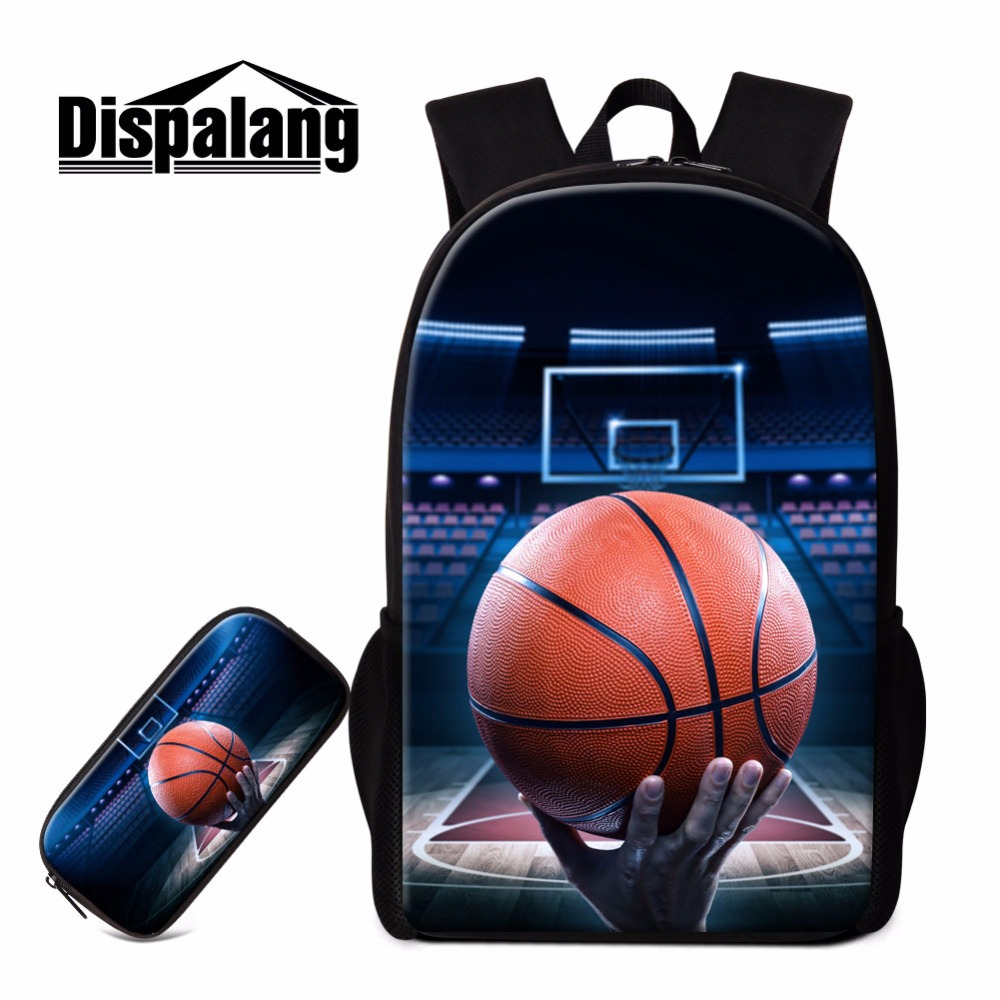 Dispalang Basketballi Backpack for Children Boys Shoulder Back pack and Pencil Bag Teens School Bag Mochilas Cool Rucksack Kids