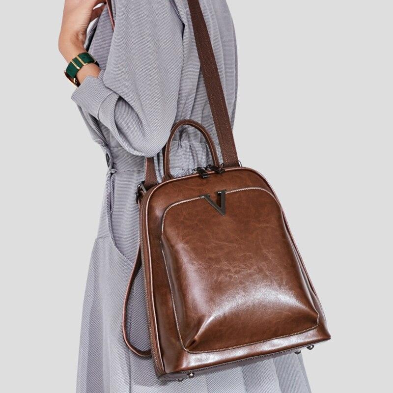 Oil Wax Genuine Leather Women Backpack Cross Body Shoulder Bags Cowhide School Daypack Fashion Retro Female Rucksack Knapsack #3
