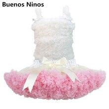 Комплект из белого шифонового топа на бретелях и розовой юбки бальная юбка с рюшами юбка-американка для девочек комплект с юбкой-пачкой