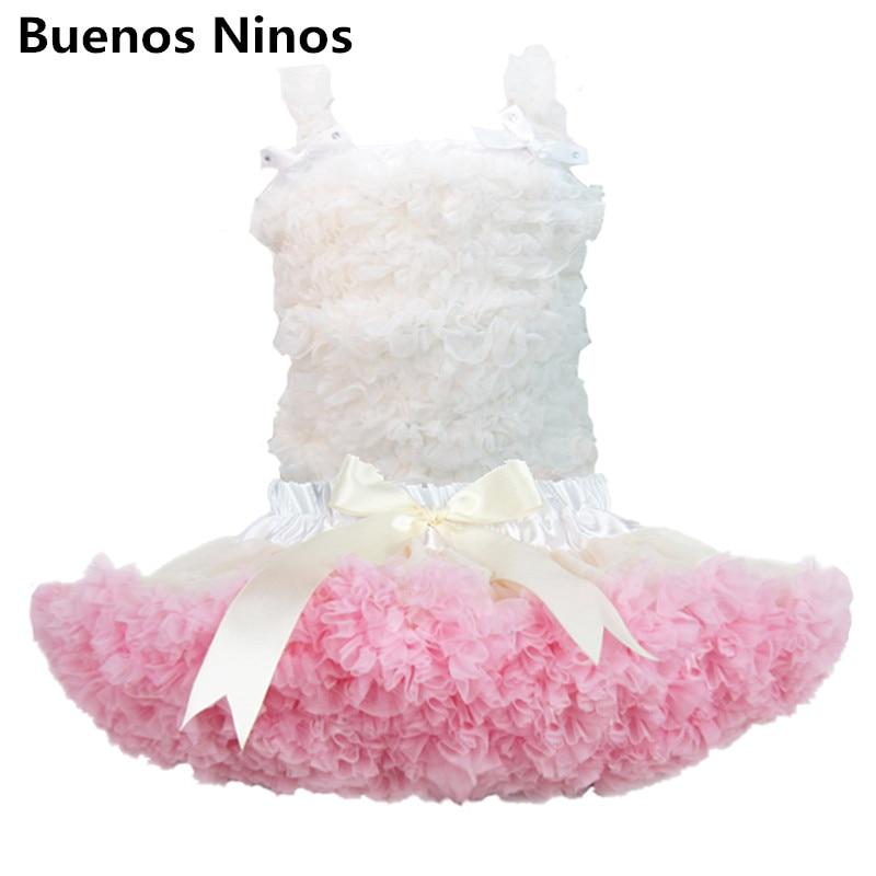 Bílé šifónové tílko a růžová sukně sada, Plesové šaty s - Dětské oblečení