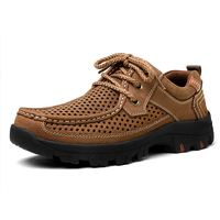 Nice New Summer Fashion Cuts Out Breathable Genuine Leather Men Business Leisure Boat Shoes Khaki Brown