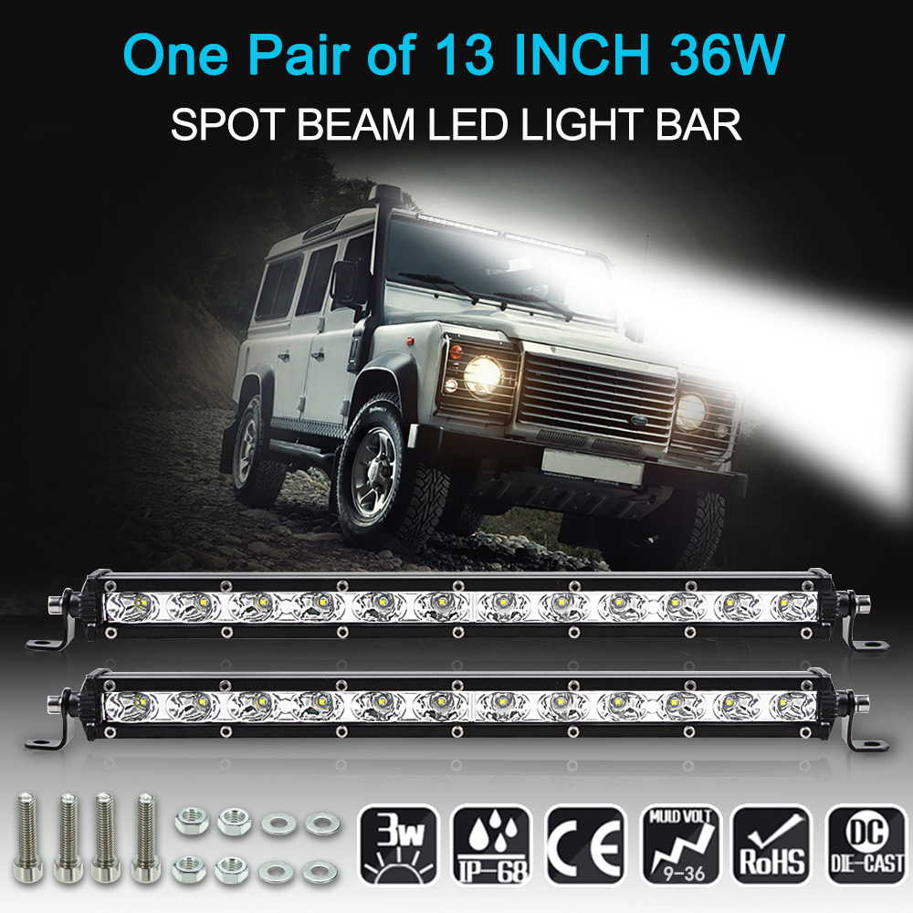 2Pcs 13 36W LED Light Bar Slim Work Light Spot Beam Driving Fog Light Road Lighting for Car Truck SUV Boat Marine Jeep