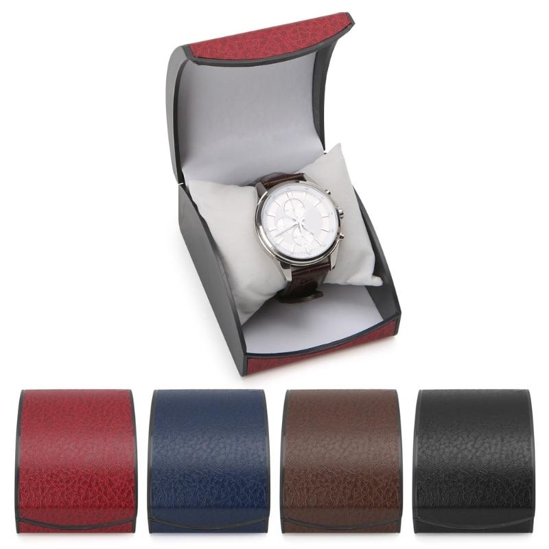 JAVRICK Luxury Wristwatch Box Display Case Gift For Jewelry Bracelet Faux Leather Holder Curved Bracelet Watch