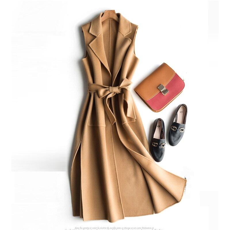 Women s Vest Wool Coat Female Long Vests With Belt Waistcoat for Women jaqueta feminina Autumn