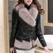Winter Warm Jacket Women Fox Fur Slim Elegant PU Thick High Street Coat Black Color Parkas