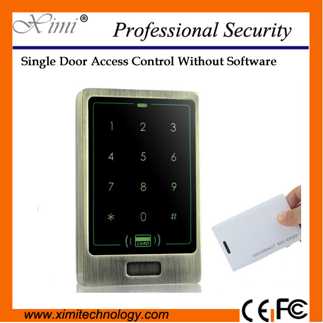 Free shipping 125khz rfid card reader standalone IP65 Waterproof 8000 user password Weigand output/ input door access control outdoor mf 13 56mhz weigand 26 door access control rfid card reader with two led lights