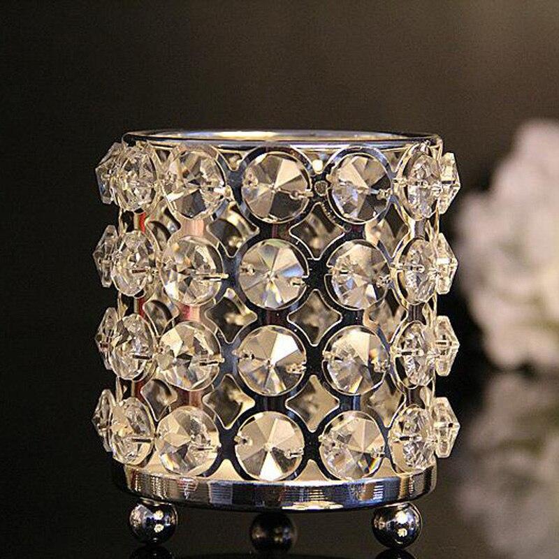 3pc / lot Kristalları olan yeni metal şamdan tutacaqlar gümüş - Ev dekoru - Fotoqrafiya 5