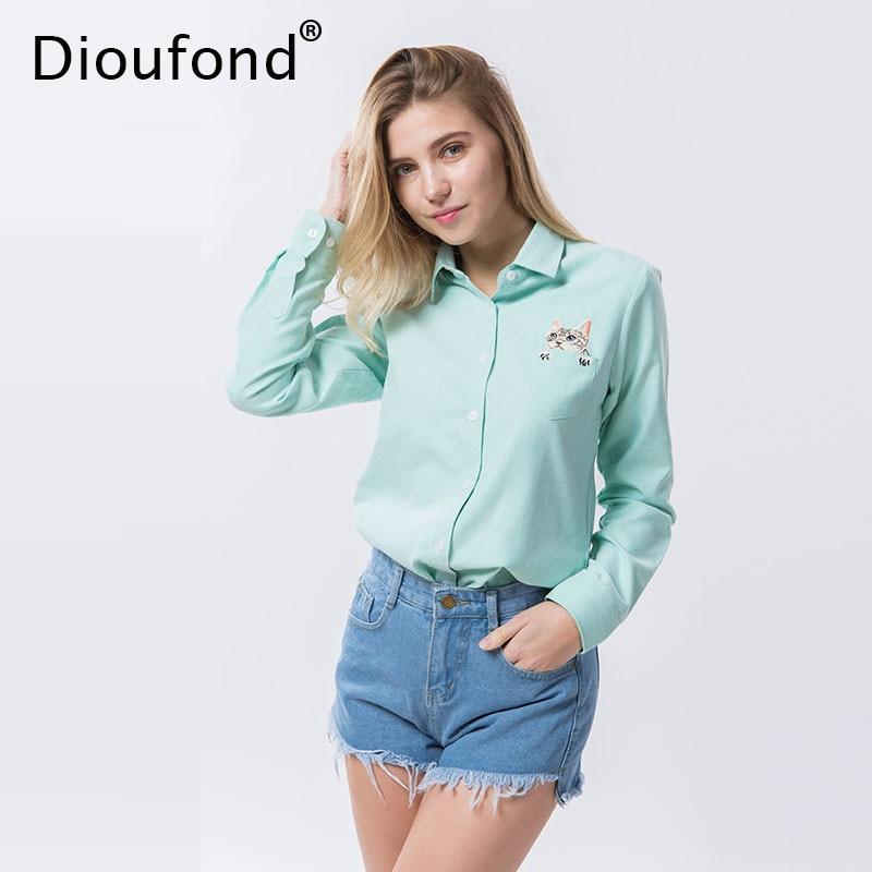 Dioufond Mačja vezenje z dolgimi rokavi Ženske bluze in majice Belo modra ženska ženska priložnostna majica Majice Plus Velikost bluze bluze