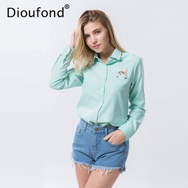 Dioufond Gato Bordado Manga Larga Blusas y Camisas de Las Mujeres Azul Blanco Mujer Casual Camisa Tops Más Tamaño Blusas Blusa