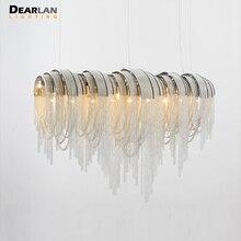 New Arrival Long Aluminum Chain Chandelier Light kroonluchter Vintage Hanging Lamp Lustre for Hotel Project MD83101