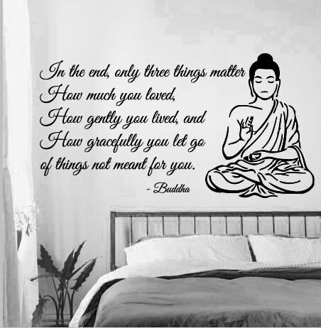 En haut Bouddha Vinyl Sticker Citation de Bouddha Yoga Gym Méditation &QK_54