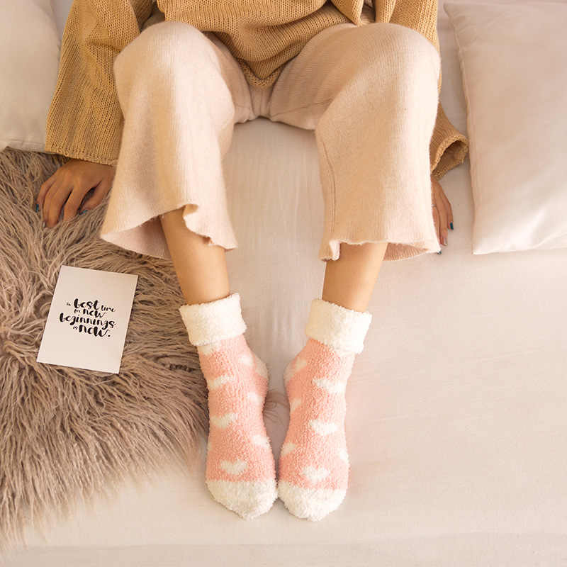 Jeseca Kadınlar Pamuk Güzel Çorap Sonbahar Kalın Sıcak Uyku Ev Kat Iç Çamaşırı Kış Kawaii Termal Çorap Bayanlar komik çoraplar