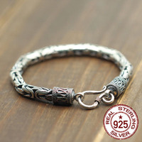 925 Sterling Silver Bracelet Simple Male And Female Dragons Make The Old Flat Chain Braid The