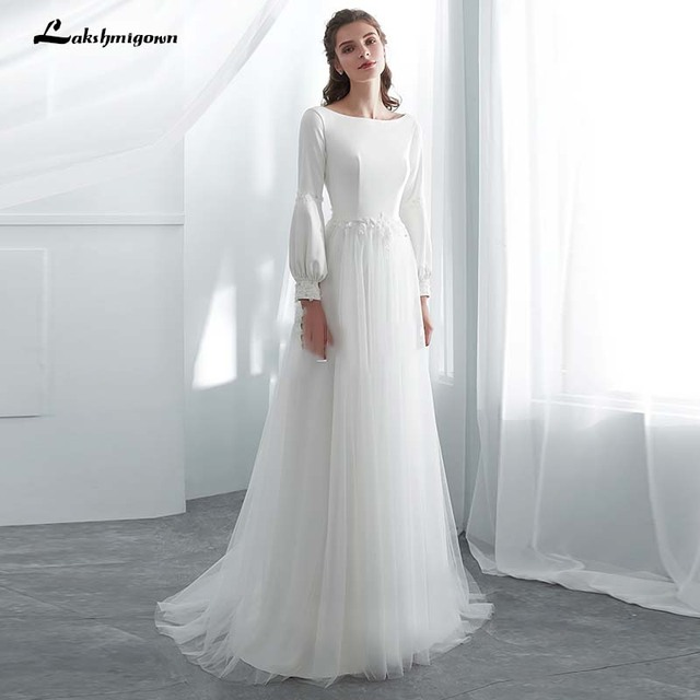 Long Sleeves Beach Bridal Dress White A Line Wedding Dresses Vestido