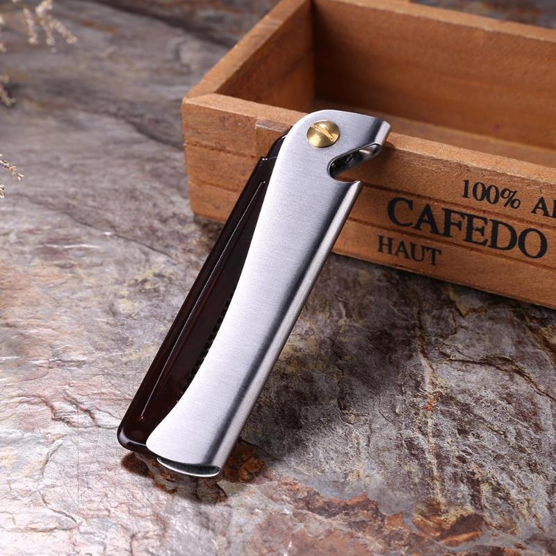 1pc Stainless Steel Beard Comb Metal Plastic Folding Bottle Opener Wide Teeth Comb for Men Hair Beard Trim Tools hair brush 5