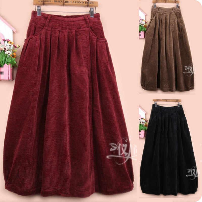 0fce5b49ab34e Free Shipping 2018 New Fashion Long Mid-calf A-line Skirts For Women Elastic