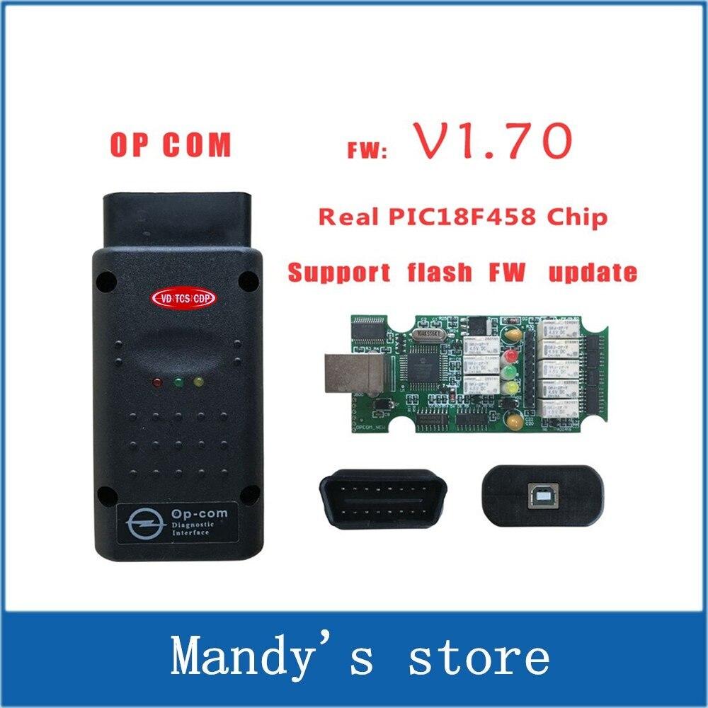 Prix pour Haute Qualité OPCOM V1.70 OBD2 Op-com CAN-BUS Interface Pour OPEL Firmware V1.64 OP COM Avec PIC18F458 Puce Peut Flash Mise À Jour