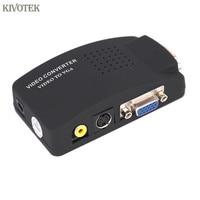 KIVOTEK 2PCS/LOT PC Laptop Composite Video TV RCA Composite S Video AV In To PC VGA LCD Out Converter Adapter Switch Box Black