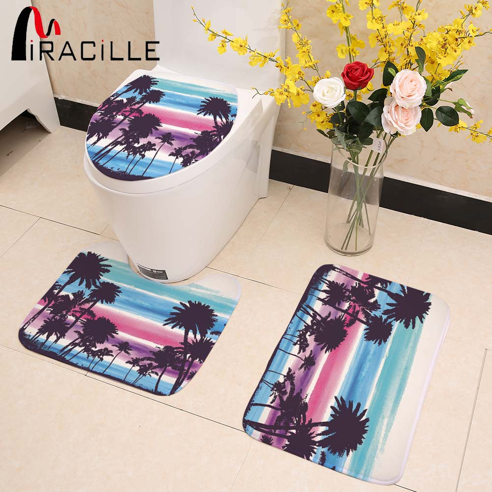 Miracille Hawaii Style Coconut Tree Pattern 3Pcs/Set Lid Toilet Seat Cover Pedestal Rug Bathroom Door Mats Set for Home Decor
