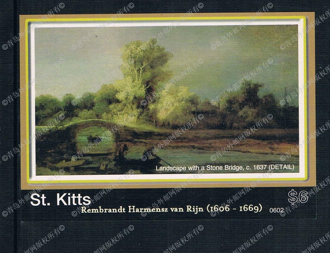 DA0790 2006 Rembrandt painting stone St. Kitts landscape 1M new 0524 stamps люстра на штанге preciosa brilliant 45 0524 006 07 00 07 01