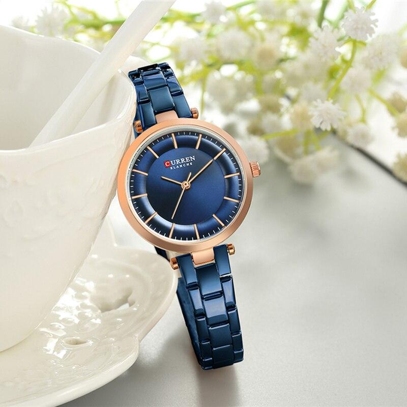 Women Bracelet Watches Luxury Waterproof Wristwatch Fashion Quartz Clock CURREN Blue Female Stainless Steel Ladies Dress Watches