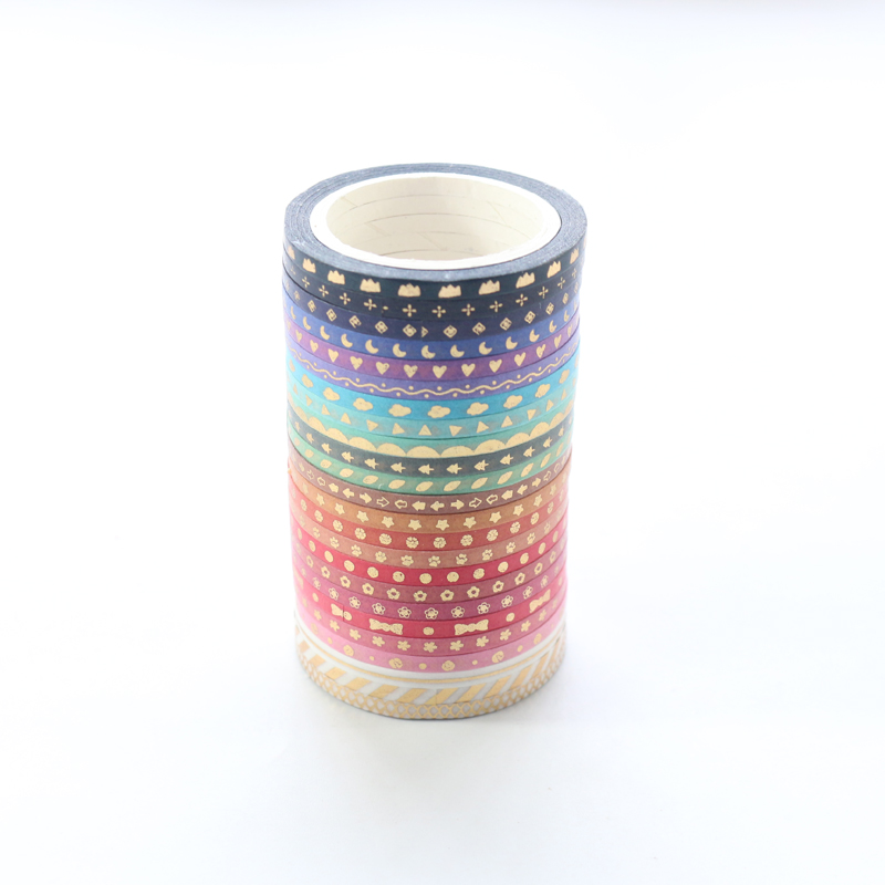 Domikee Cute Japanese Mini Gold Foil Diary Decorative Washi Tape Set,kawaii Scrapbooking Craft DIY Masking Tape Stationery,24pcs