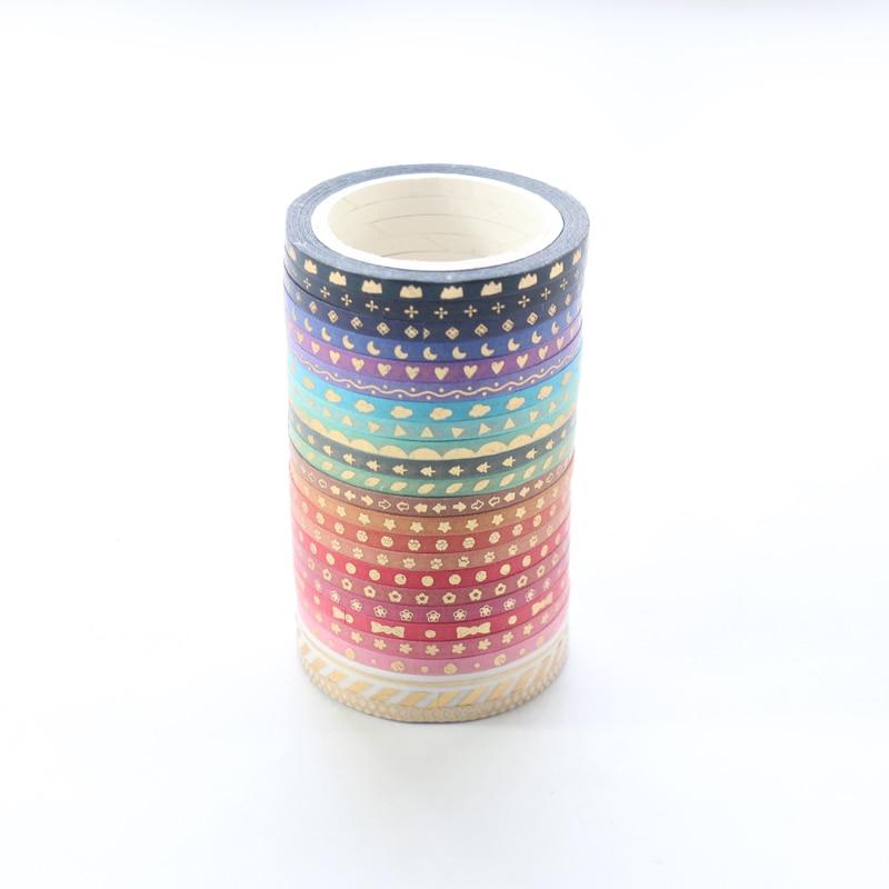 Domikee Cute Japanese Mini Gold Foil Diary Decorative Washi Tape Set,kawaii Scrapbooking Craft DIY Masking Tape Stationery,24pcs