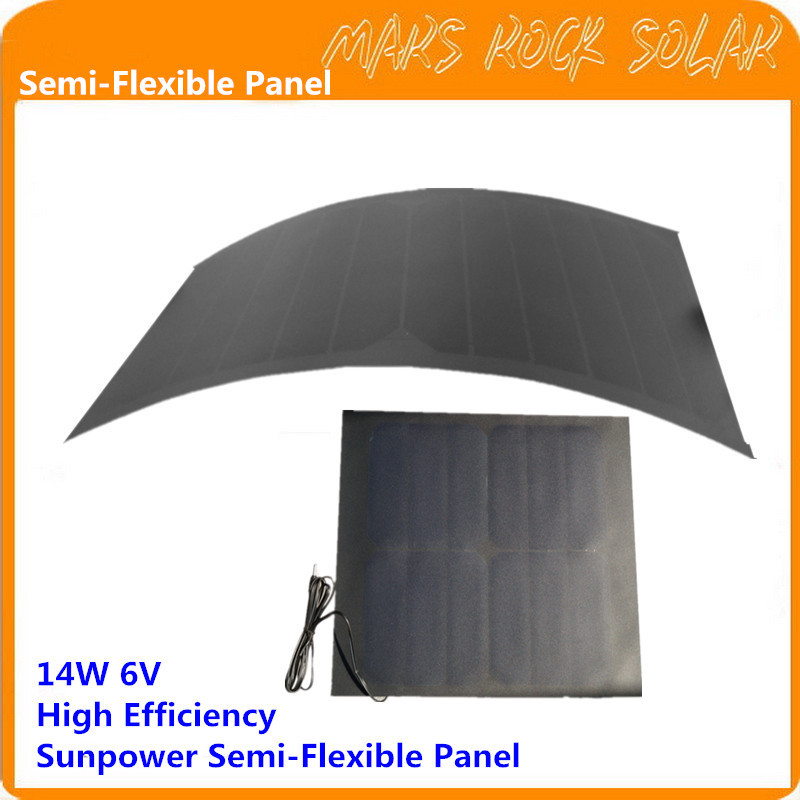 Semi-flexible Solar Panel - 6V 14W High Efficiency sp 36 120w 12v semi flexible monocrystalline solar panel waterproof high conversion efficiency for rv boat car 1 5m cable