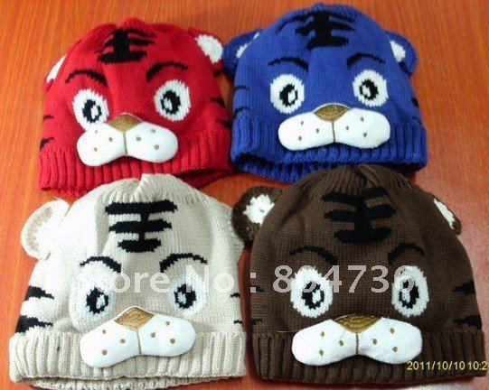 New 6 Colors Baby Hat Boy Cartoon Tiger Hat Children's Knitted Winter Cap Baby Animal Beanies Free Shipping