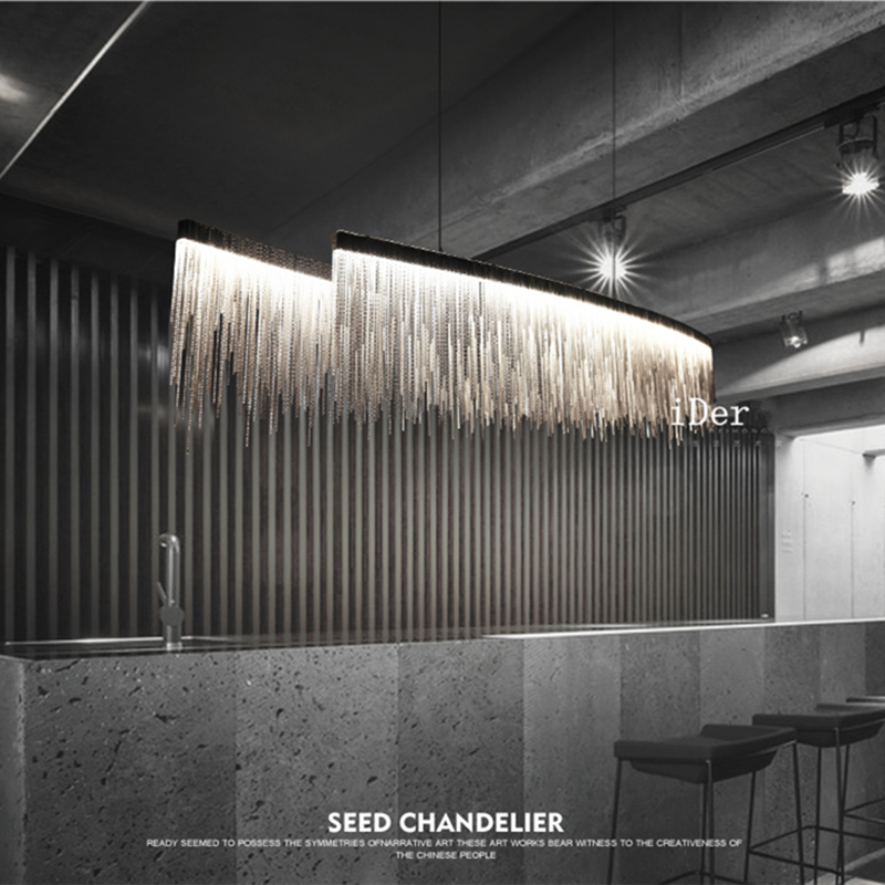 Modern designer  Nordic tassel restaurant luxury chandeliers hotel engineering chain living room art hanging lights|Chandeliers|   - AliExpress
