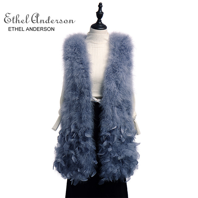 Ethel Anderson Womens Real Knitted Ostrich Feather Fur Long Gilet Pretty Warm Furry Girls Vest