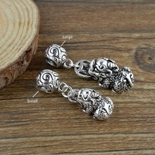 925 серебро Pixiu очарование старинное серебро фэншуй Богатство пиксиу кулон На Удачу Амулет Pixiu