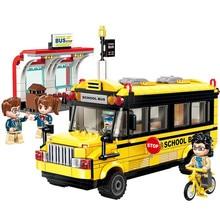 цена на ENLIGHTEN City Colorful Series School Bus Car Bicycle Station Figures Building Blocks Model Sets Kids Toys Compatible