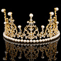 Lady Wedding Bride Crown Tiara  Zinc Alloy Gold-plated Pearl Pearl Crown Hair Ornament Classic Fashion Wedding Jewelry