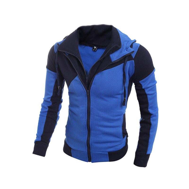 Fashion Brand Sweatshirts Men Zipper Hoodies Patchwork Slim Men's Sportswear Active Men Coat The Size M-XXL